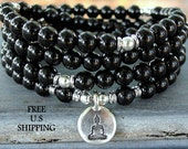 108 mala, Onyx, Om, Mala Bracelet or Necklace,Reiki charged, Buddhist Rosary,Prayer beads, Gemstone, wrist mala, Lotus, buddha, ohm, om