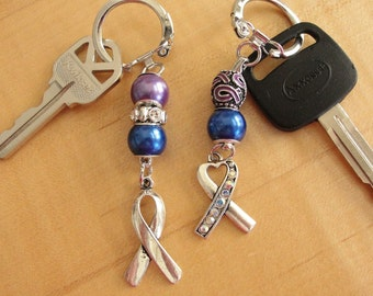 Purple and Blue Awareness Key Chain - Lightweight - Rheumatoid Arthritis / RA & Pediatric Stroke