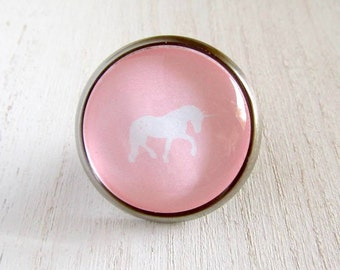 Unicorn Nursery Knob Pink Glass Dresser Drawer Cabinet Metal Bedroom Pull