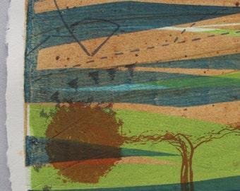 OOAK mono print with screenprint, eco art. reed bed regeneration