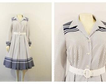 Vintage Dress 60s Mad Men Rockabilly Debbie Bee Blue & White Polka Dot Shirtwaist Dress Long Sleeve Dress Small to Medium HUGE PRICE DROP