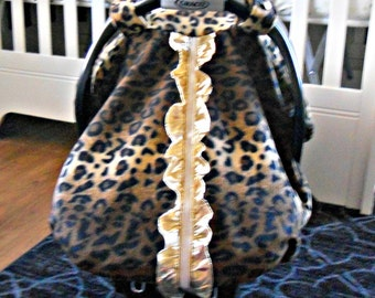 Fleece Baby Car Seat Carrier Canopy Couture Ruffle Cheetah (fitted), FREE MONOGRAMMING