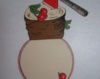 Colorful unused die cut patriotic place card showing Red Axe in stump of cherry tree George Washingon, presidents day, july 4th