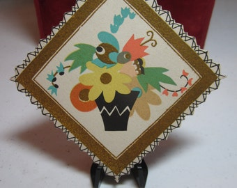 Colorful 1920's-30's unused  art deco die cut and gold gilded Buzza bridge tally card stylized deco flowers in planter