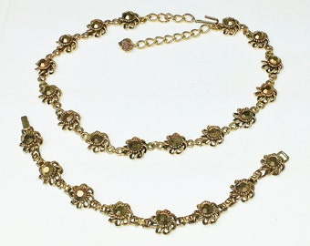 Vintage GOLD Rhinestone Antiqued Gold 1950's Mid Century Glamour Girl Costume Jewelry Demi Parure Necklace Bracelet Gift For Her on Etsy