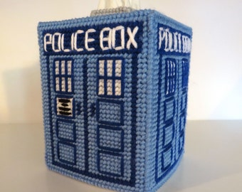 Needlepoint Tardis Dr. Who tissue box.