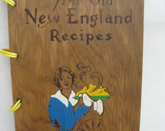 Vintage Wooden Bound New England Cookbook