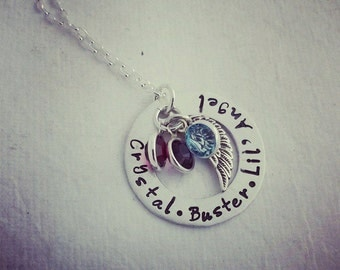 Personalized Necklace - Hand Stamped Mommy Jewelry - Birthstone Necklace - Personalized Jewelry - Mothers Day Gift
