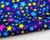 "3124D  - 1 yard Vinyl Waterproof Fabric - Colorful stars (Navy Blue)  - 57""x36"""