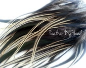 """16 Feather Hair Extensions Natural BADGER Wide Feather Extensions With Fluff  Long 7""""-9+"""" (2.75-3.54cm) Crafts, Fly TYyng"""