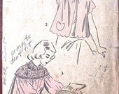 "Advance Bed Jacket Pattern No 4994 Vintage 1940s Size Medium Bust 32"" 34"" Scalloped Short Sleeves or 3/4 Sleeve Lace Yoke Pocket Collar"