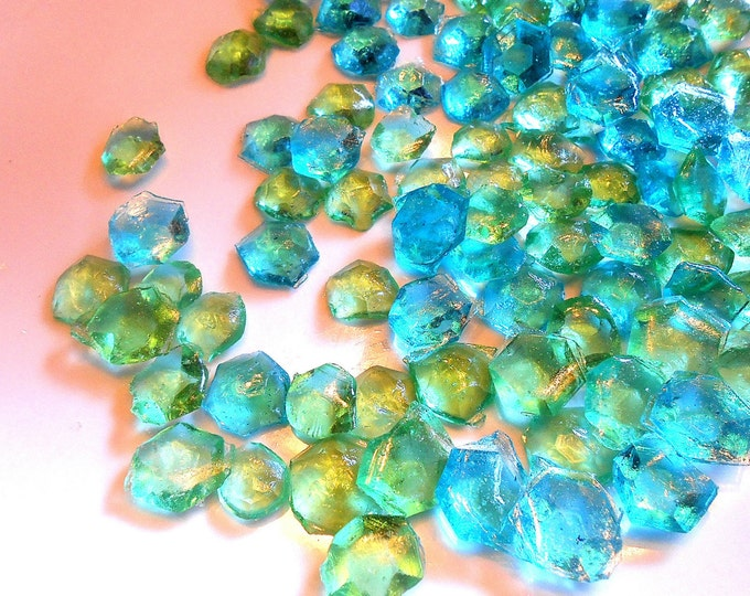 60 Mine craft Party, AQUA BLUE, GREEN, Candy Gems, Cake Decorations, Hard Candy, Cupcake Toppers