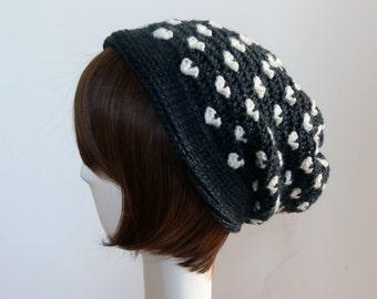 Hearts Beanie in Dark Grey & White, Multi Use Crochet Hat, Cowl, Neckwarmer, Winter Accessories, Hand Crocheted Hat, Valentine's Day Gift