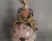 """ceramic standing clock """"Anabelle"""".  by Maria Counts"""