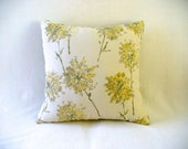 "Pillow with 16"" x 16"" Insert, Soft Yellow, Light Green on a Cream Background, Accent Decorative Fabrics"