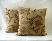 "Pillow with 18"" x 18"" Insert, Caramel, Rust and Brown Paisley Design, Accent Decorative Fabrics, Two Pillows available"