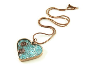Orgone Energy Pendant - Copper Heart with Turquoise Gemstone - Heart Necklace - Turquoise Necklace - Artisan Jewelry