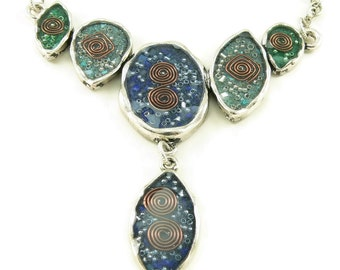 Orgone Energy Bib Necklace - Statement Necklace - Ombre Design - Lapis Lazuli, Turquoise, Malachite - Artisan Jewelry - Energy Jewelry