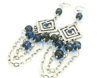 As seen on Hart of Dixie - Sterling Silver and Blue Crystal Long Dangle Earrings - Chandelier Earrings - Celebrity Jewelry - Artisan Jewelry