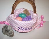 Personalized Basket Liner Pink Chevron