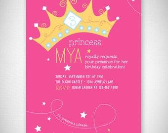 Princess Birthday Invitation - DIY - Digital File - Print Your Own - JPEG - PDF