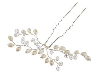 Bud Wedding Hair Pin Pearl Hair Accessories Ivory Pearl Bridal Silver Hair Clip Bridesmaids Clear Crystal Hair Accessory UK Hand Made