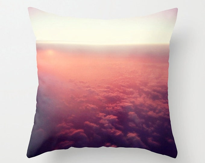 Sunset Sofa Pillow, Cloud Accent Pillow, Pink Lavender Abstraction Throw Cover, Sunset Above Clouds Cushion 18x18 22x22  Decorative Pillow