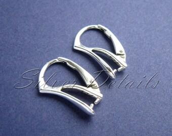 Sterling Silver Leverbacks with Pinch Bail for Swarovski Crystals model ES119