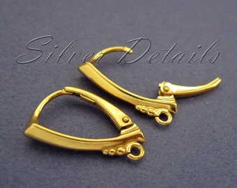 Top Quality Decorative Gold Vermeil over Sterling Silver 925 Lever backs with Loop model ES108 AU 1 pair