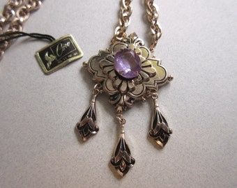 Vintage RARE? Victorian Revival Coro Pegasus Genuine Amethyst Stone Necklace Never Worn Original Tag! signed costume jewelry