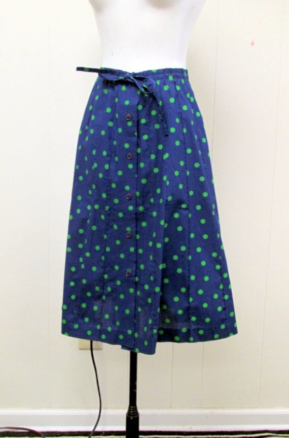 navy blue polka dot vintage skirt by beaumondevintage on etsy