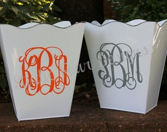 Personalized - Monogrammed Scalloped Trash Can/Waste Can - Create with your color scheme to match your decor - Assorted Colors Available