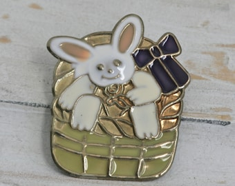 EASTER Basket Bunny Gold Tone Pin Brooch // Vintage Estate Jewelry