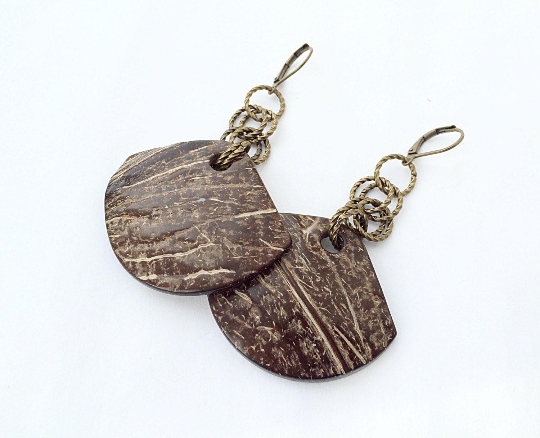 sale coconut jewelry coconut dangle earrings by