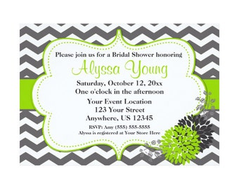 Chevron Baby Bridal Shower Invitation - You PRINT You CHOOSE COLORS