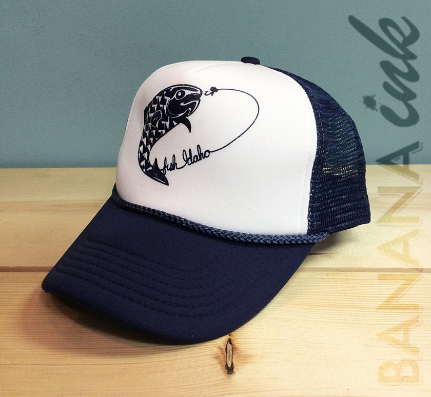 Idaho fish foam trucker hat banana ink for Fishing trucker hats