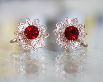 Vintage Red Rhinestone and Gold Clip On Earrings / Costume Jewelry