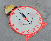 Unused 1950's Valentines   Smiling Clock  Valentines Day Card   Made in USA