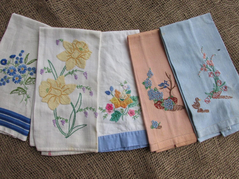 Vintage tea towels embroidered appliqued kitchen
