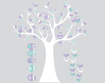 Children wall decal tree-Vinyl tree decal- tree decal- owl tree decal- Nursery tree