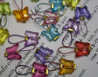 20 Knitting stitch markers butterflies