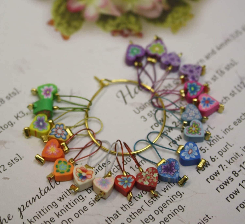 20 Knitting stitch markers polymer clay by CraftyCatKnittyBits