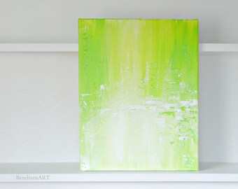 SALE 22.00 OFF Modern Abstract Art, Spring Home Decor, Original Painting in Lime Green, Yellow, White, Birthday, Anniversary for Her