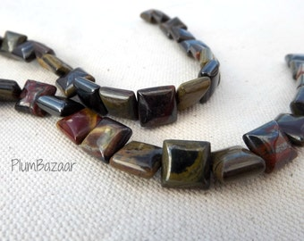 Tiger iron stone beads, 16 inch strand 10mm square