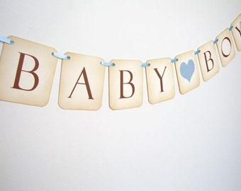Baby Boy Banner, Baby Boy Bunting, Baby Boy Baby Shower Decoration, Blue Baby Boy Sign, Vintage Baby Boy Garland, Photo Prop, Matching Items