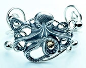 Steampunk Victorian Octopus Wire Bracelet, Vintage Silver or Gold
