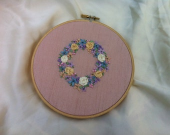 Flower Wreath Embroidered Wall Hanging Hoop Art - by BeanTown Embroidery