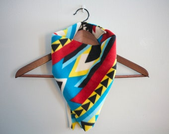 bandana scarf in geometric aztec pattern: fleece scarf gifts for unisex men women adults and children