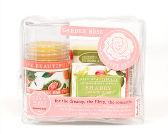 Garden Rose Gift Set - All Natural Body Product Gift Set - Lotion, Perfume, Lip Balm, Deodorant