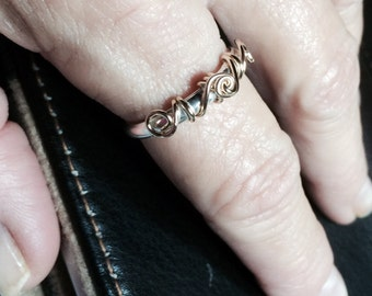 Ring Sterling Silver 14K Yellow or Rose Gold Filled Wire Wrapped